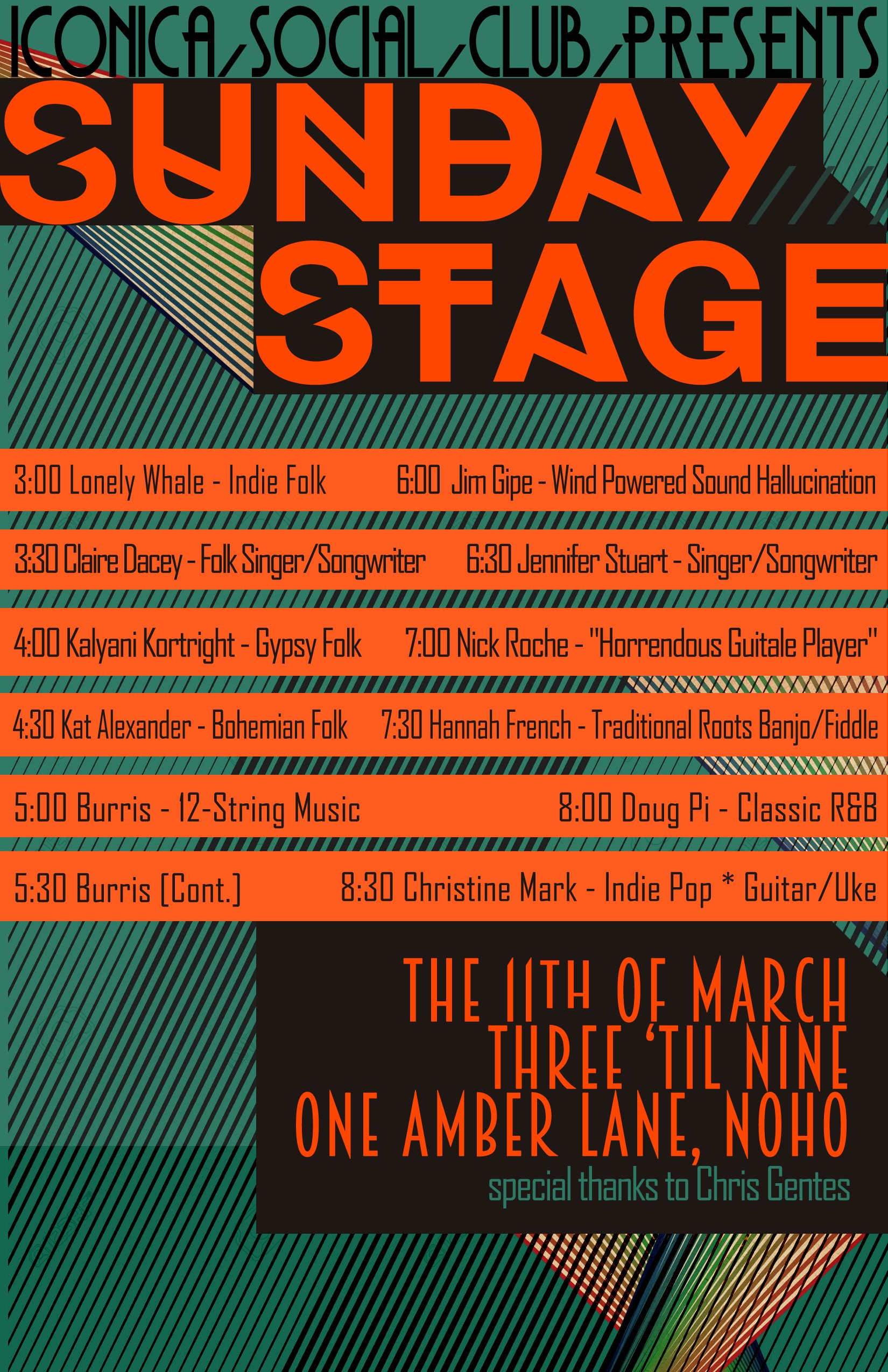 SUNDAY STAGE, 12 Local Musicians Across 6 Hours