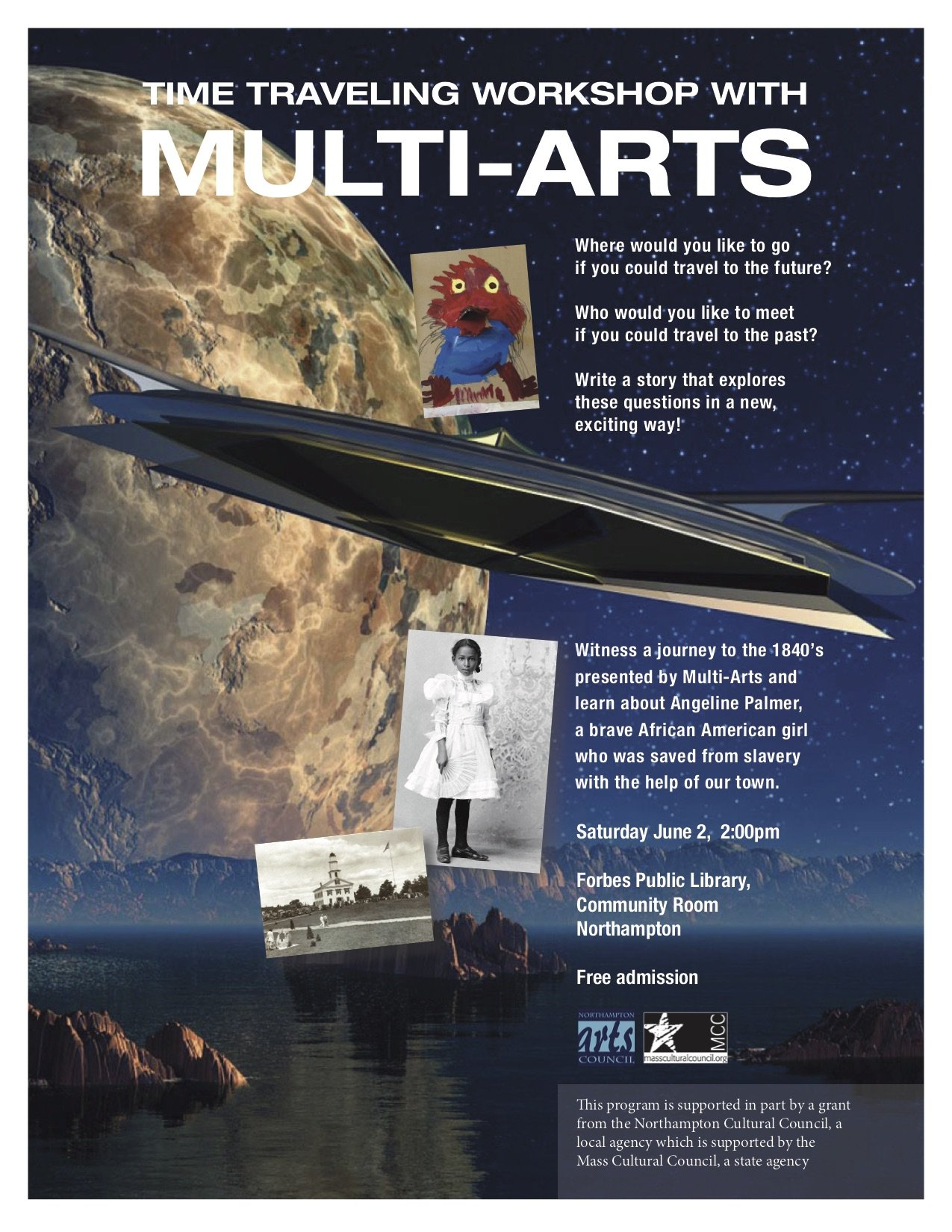Time traveling to the past or the future with Multi-Arts