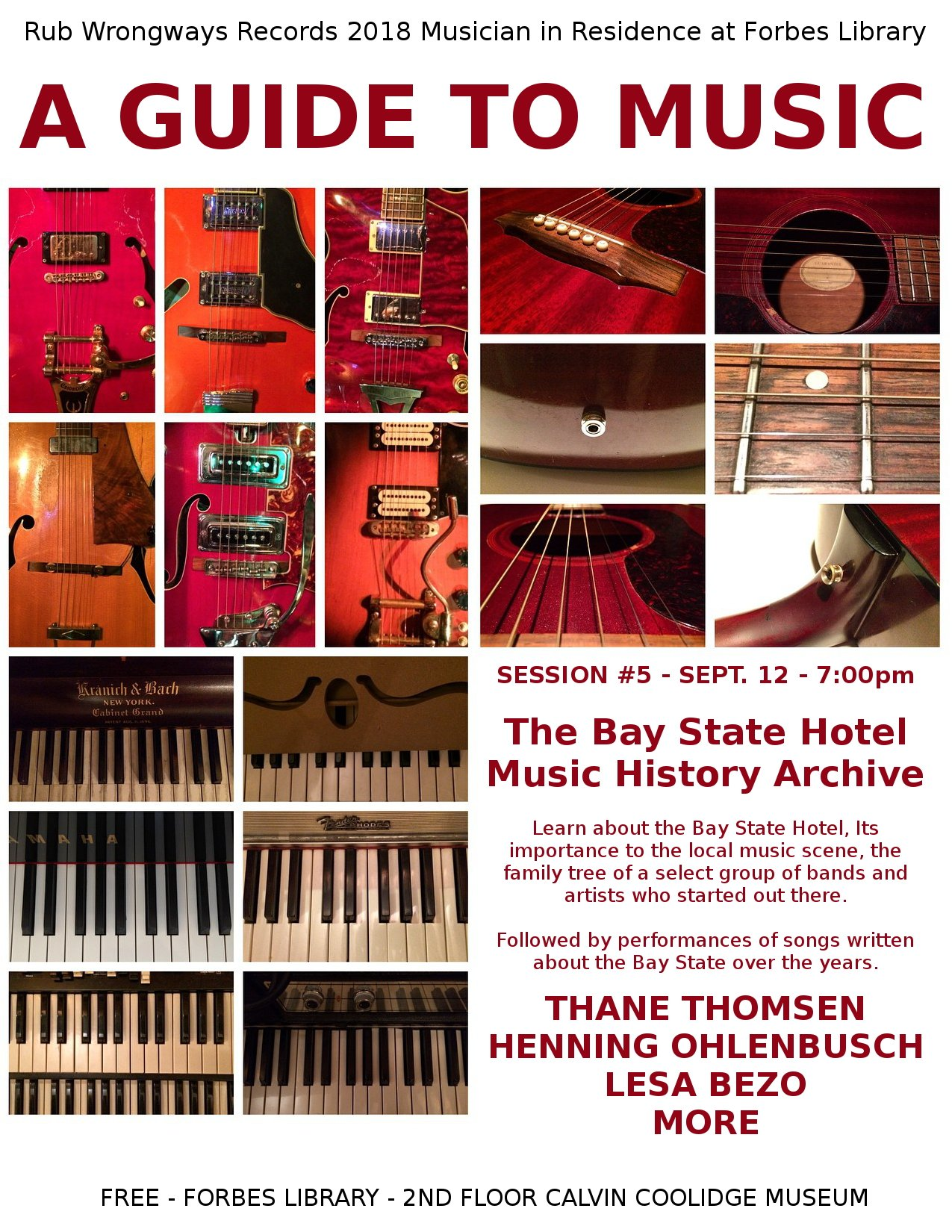 Rub Wrongways Musicians In Residence Event #5: The Bay State Hotel Music History Archive